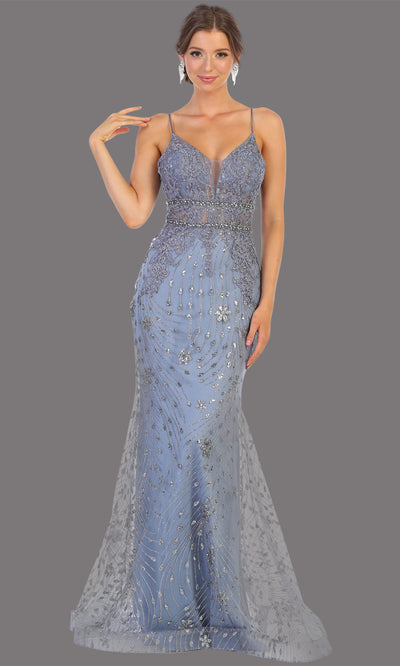 Mayqueen RQ7808 long dusty blue v neck sexy fitted sequin lace dress w/straps. Full length dusty blue gown is perfect for  enagagement/e-shoot dress, formal wedding guest, indowestern gown, evening party dress, prom, bridesmaid. Plus sizes avail.jpg