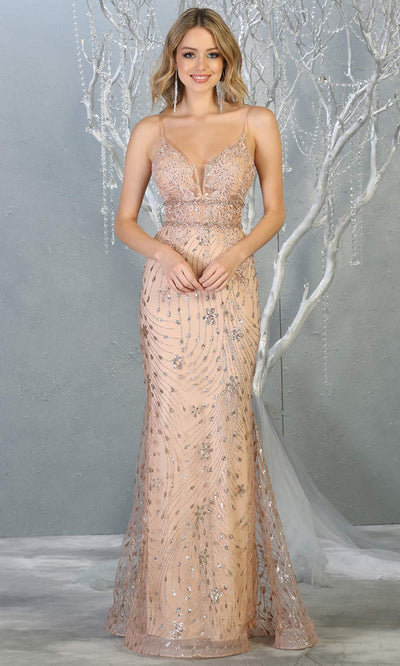 Mayqueen RQ7808 long rose gold v neck sexy fitted sequin lace dress w/straps. Full length rose gold gown is perfect for  enagagement/e-shoot dress, formal wedding guest, indowestern gown, evening party dress, prom, bridesmaid. Plus sizes avail.jpg