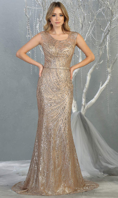 Mayqueen RQ7810 long rose gold high neck sexy fitted sequin dress w/high back. Full length rose gold gown is perfect for  enagagement/e-shoot dress, formal wedding guest, indowestern gown, evening party dress, prom, mother of bride. Plus sizes avail.jpg