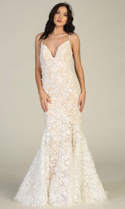 Mayqueen RQ7811-long ivory/nude sexy wedding dress w/v neck & open back.Formal lace mermaid dress is perfect wedding bridal dress, simple prom dress, court/civil wedding, second wedding, destination wedding dress, cheap wedding dress.Plus sizes avail.jpg