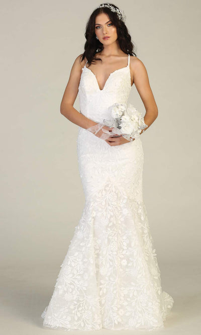 Mayqueen RQ7811-long ivory sexy wedding dress w/v neck & open back.Ivory formal lace mermaid dress is perfect wedding bridal dress, simple prom dress, court/civil wedding, second wedding, destination wedding dress, cheap wedding dress.Plus sizes avail.jpg