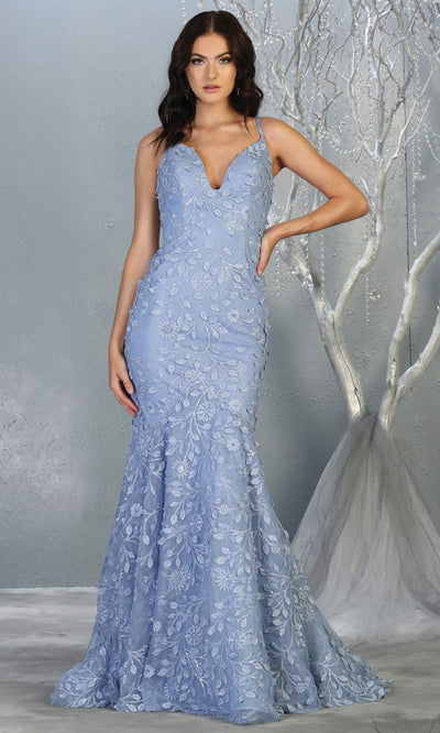 Mayqueen RQ7811 long dusty blue v neck sexy fitted lace mermaid dress w/open back. Full length light blue gown is perfect for  enagagement/e-shoot dress, formal wedding guest, indowestern gown, evening party dress, prom, bridesmaid. Plus sizes avail.jpg