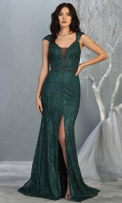 Mayqueen RQ7812 long hunter green v neck sexy fitted sequin dress w/cap sleeves. Full length dark green gown is perfect for  enagagement/e-shoot dress, formal wedding guest, indowestern gown, evening party dress, prom, bridesmaid. Plus sizes avail.jpg