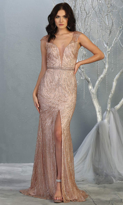Mayqueen RQ7812 long rose gold v neck sexy fitted sequin dress w/cap sleeves. Full length light pink gown is perfect for  enagagement/e-shoot dress, formal wedding guest, indowestern gown, evening party dress, prom, bridesmaid. Plus sizes avail.jpg