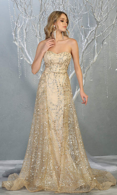 Mayqueen RQ7815 long champagne strapless sexy fitted sequin dress w/skirt overlay. Full length light gold gown is perfect for  enagagement/e-shoot dress, formal wedding guest, indowestern gown, evening party dress, prom, bridesmaid. Plus sizes avail.jpg