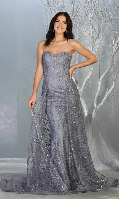 Mayqueen RQ7815 long dusty blue strapless sexy fitted sequin dress w/skirt overlay. Full length dusty blue gown is perfect for  enagagement/e-shoot dress, formal wedding guest, indowestern gown, evening party dress, prom, bridesmaid. Plus sizes avail.jpg