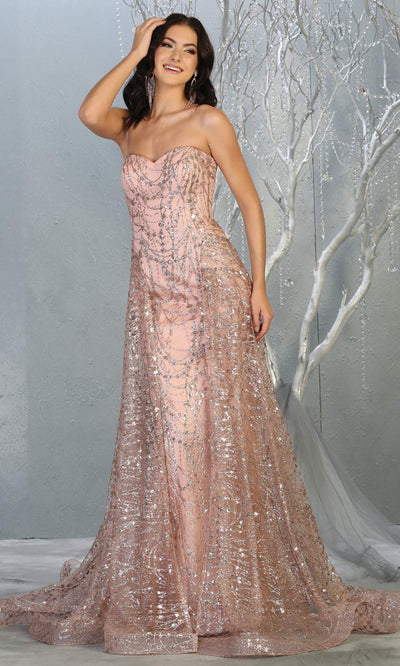 Mayqueen RQ7815 long rose gold strapless sexy fitted sequin dress w/skirt overlay. Full length rose gold gown is perfect for  enagagement/e-shoot dress, formal wedding guest, indowestern gown, evening party dress, prom, bridesmaid. Plus sizes avail.jpg