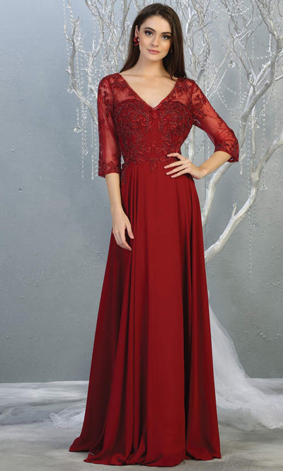Mayqueen RQ7820 long burgundy red modest flowy dress w/ long sleeves. Dark red chiffon & lace top is perfect for  mother of the bride, formal wedding guest, indowestern gown, evening party dress, dark red muslim party dress. Plus sizes avail.jpg