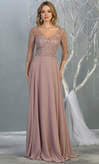 Mayqueen RQ7820 long mauve modest flowy dress w/ long sleeves. Dusty rose chiffon & lace top is perfect for  mother of the bride, formal wedding guest, indowestern gown, evening party dress, mauve muslim party dress. Plus sizes avail.jpg