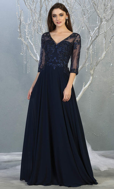 Mayqueen RQ7820 long navy blue modest flowy dress w/ long sleeves. Dark blue chiffon & lace top is perfect for  mother of the bride, formal wedding guest, indowestern gown, evening party dress, dark blue muslim party dress. Plus sizes avail.jpg
