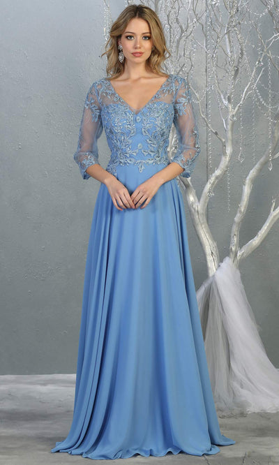 Mayqueen RQ7820 long perry blue modest flowy dress w/ long sleeves. Light blue chiffon & lace top is perfect for  mother of the bride, formal wedding guest, indowestern gown, evening party dress, perry blue muslim party dress. Plus sizes avail.jpg