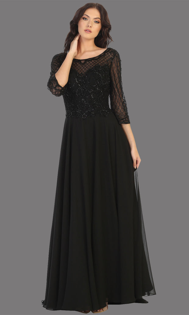 Mayqueen RQ7821 long black lace dress with long sleeves and v back. Perfect for mother of bride, conservative evening dress, muslim party dress, indowestern gown. Plus sizes avail.jpg