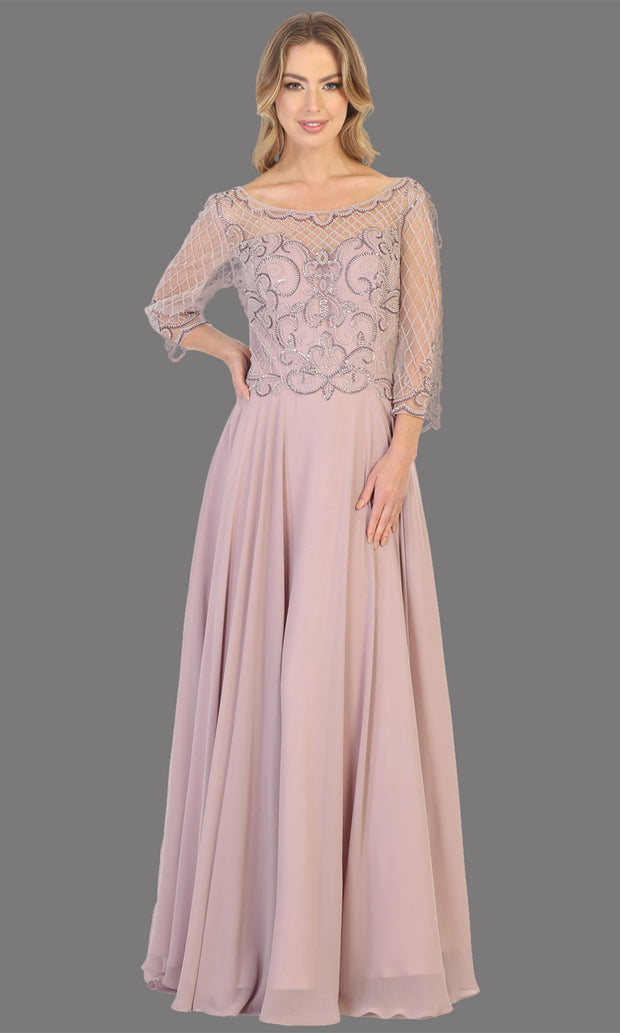 Mayqueen RQ7821 long mauve lace dress with long sleeves and v back. Perfect for mother of bride, conservative evening dress, muslim party dress, indowestern gown. Plus sizes avail.jpg