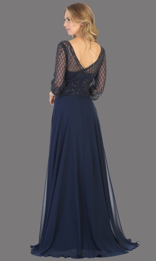 Mayqueen RQ7821 long navy blue lace dress with long sleeves and v back. Perfect for mother of bride, conservative evening dress, muslim party dress, indowestern gown. Plus sizes avail-b.jpg