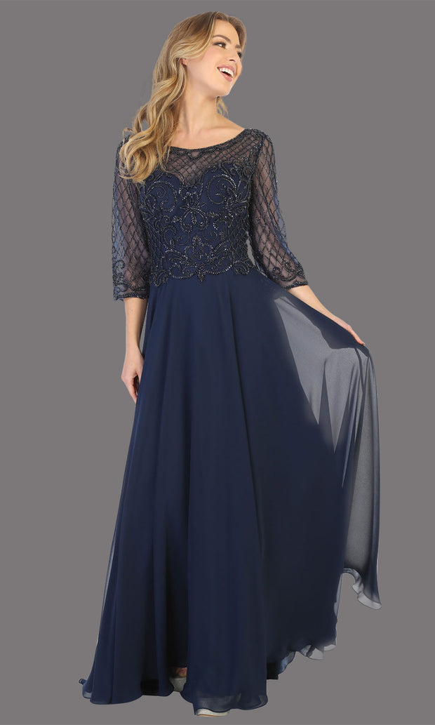 Mayqueen RQ7821 long navy blue lace dress with long sleeves and v back. Perfect for mother of bride, conservative evening dress, muslim party dress, indowestern gown. Plus sizes avail.jpg