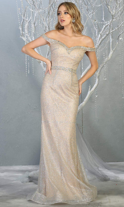 Mayqueen RQ7822 long silver off shoulder sexy fitted sequin dress. Full length light silver champage gown is perfect for  enagagement/e-shoot dress, formal wedding guest, indowestern gown, evening party dress, prom, bridesmaid. Plus sizes avail.jpg