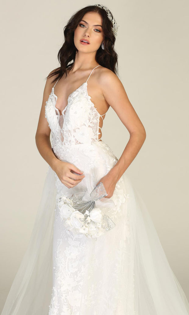 Mayqueen RQ7823-long ivory sexy wedding dress w/v neck & open back. Formal lace mermaid dress is perfect wedding bridal dress, simple prom dress, court/civil wedding, second wedding, destination wedding dress, cheap wedding dress. Plus sizes avail-c4.jpg