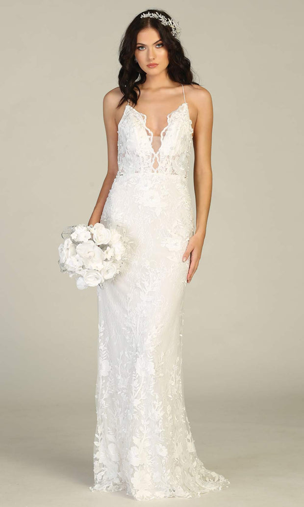 Mayqueen RQ7823-long ivory sexy wedding dress w/v neck & open back. Formal lace mermaid dress is perfect wedding bridal dress, simple prom dress, court/civil wedding, second wedding, destination wedding dress, cheap wedding dress. Plus sizes avail-2.jpg