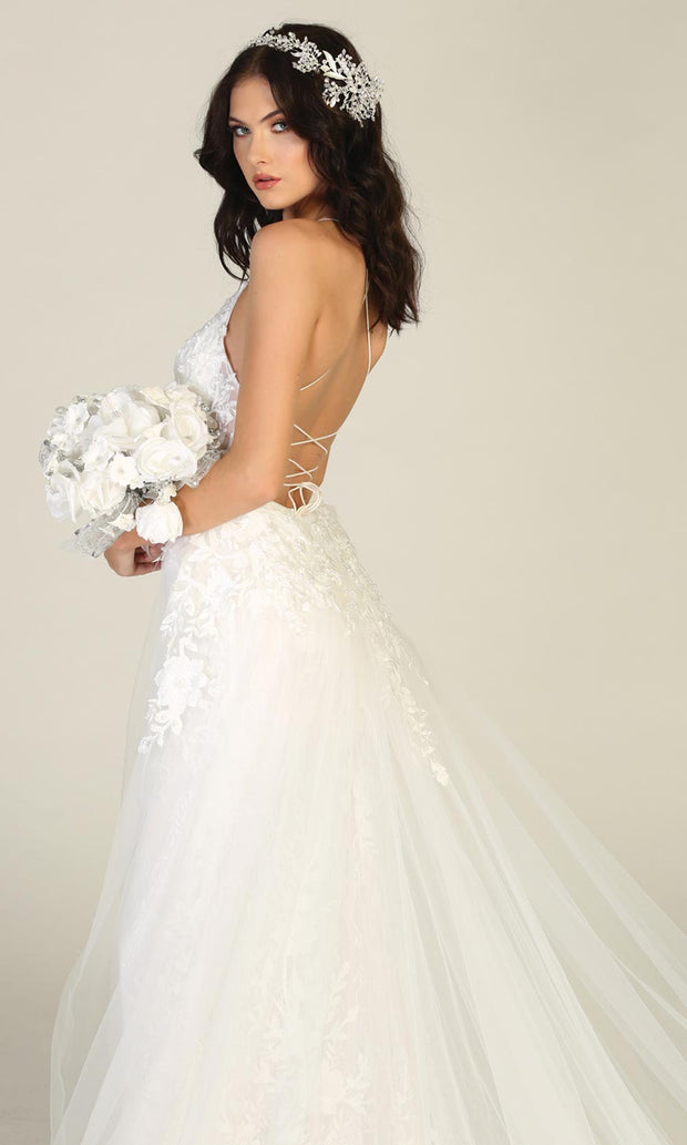 Mayqueen RQ7823-long ivory sexy wedding dress w/v neck & open back. Formal lace mermaid dress is perfect wedding bridal dress, simple prom dress, court/civil wedding, second wedding, destination wedding dress, cheap wedding dress. Plus sizes avail-s2.jpg
