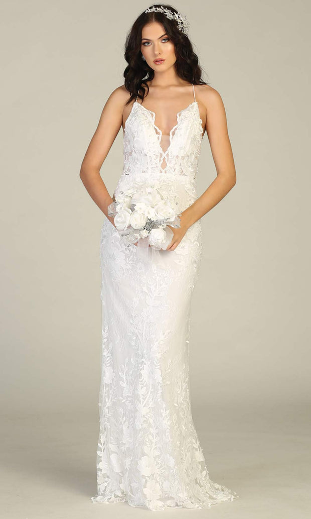 Mayqueen RQ7823-long ivory sexy wedding dress w/v neck & open back. Formal lace mermaid dress is perfect wedding bridal dress, simple prom dress, court/civil wedding, second wedding, destination wedding dress, cheap wedding dress. Plus sizes avail.jpg