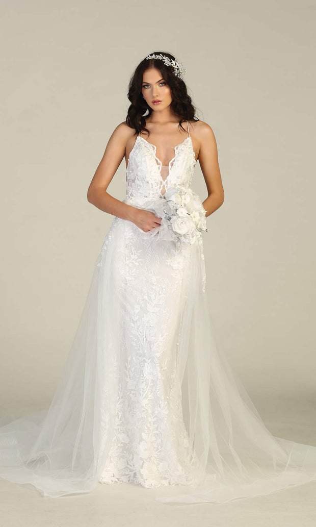Mayqueen RQ7823-long ivory sexy wedding dress w/v neck & open back. Formal lace mermaid dress is perfect wedding bridal dress, simple prom dress, court/civil wedding, second wedding, destination wedding dress, cheap wedding dress. Plus sizes avail-4.jpg