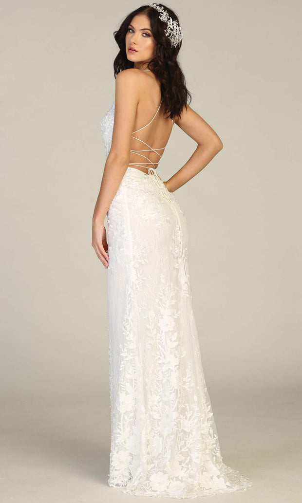 Mayqueen RQ7823-long ivory sexy wedding dress w/v neck & open back. Formal lace mermaid dress is perfect wedding bridal dress, simple prom dress, court/civil wedding, second wedding, destination wedding dress, cheap wedding dress. Plus sizes avail-b.jpg