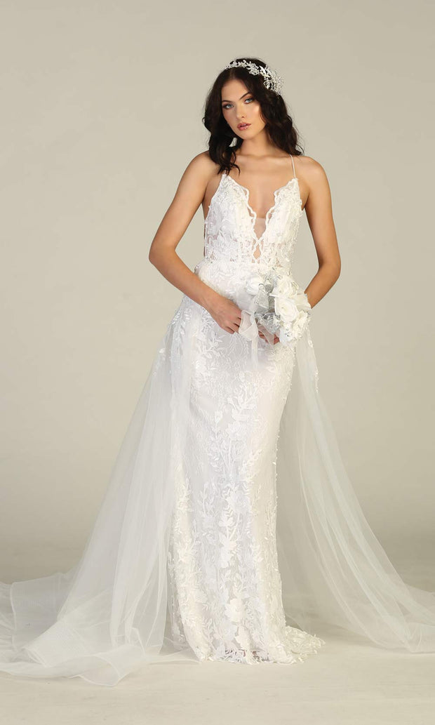 Mayqueen RQ7823-long ivory sexy wedding dress w/v neck & open back. Lace mermaid dress w/skirt is perfect wedding bridal dress, simple prom dress, court/civil wedding, second wedding, destination wedding dress, cheap wedding dress. Plus sizes avail.jpg