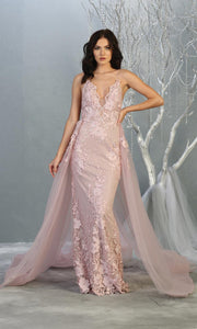 Mayqueen RQ7823 long mauve v neck evening fitted lace dress w/straps. Full length light pink gown is perfect for  enagagement/e-shoot dress, formal wedding guest, indowestern gown, evening party dress, prom, bridesmaid. Plus sizes avail.jpg