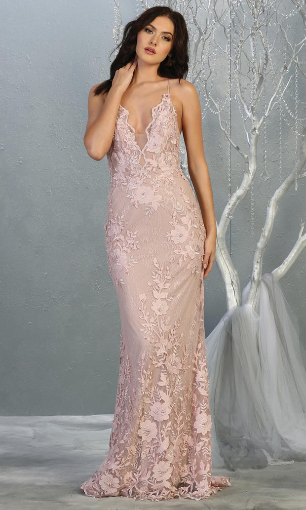 Mayqueen RQ7823 long mauve v neck evening fitted lace dress w/straps. Full length light pink gown is perfect for  enagagement/e-shoot dress, formal wedding guest, indowestern gown, evening party dress, prom, bridesmaid. Plus sizes avail-1.jpg