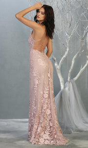 Mayqueen RQ7823 long mauve v neck evening fitted lace dress w/straps. Full length light pink gown is perfect for  enagagement/e-shoot dress, formal wedding guest, indowestern gown, evening party dress, prom, bridesmaid. Plus sizes avail-b2.jpg