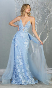 Mayqueen RQ7823 long perry blue v neck evening fitted lace dress w/straps. Full length light blue gown is perfect for  enagagement/e-shoot dress, formal wedding guest, evening party dress, prom, engagement, wedding reception. Plus sizes avail-2.jpg
