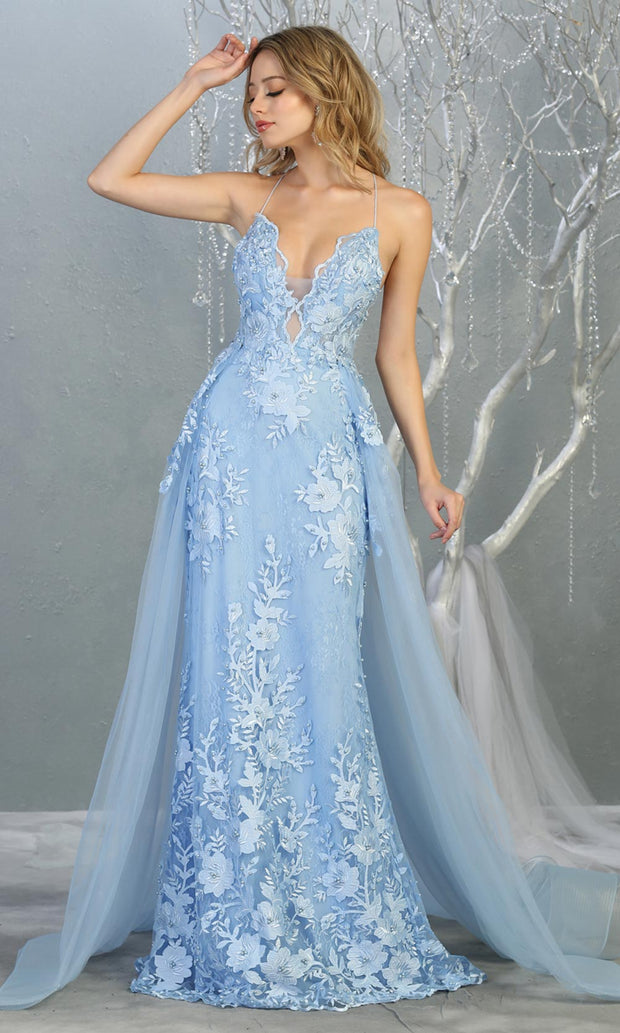 Mayqueen RQ7823 long perry blue v neck evening fitted lace dress w/straps. Full length light blue gown is perfect for  enagagement/e-shoot dress, formal wedding guest, evening party dress, prom, engagement, wedding reception. Plus sizes avail.jpg