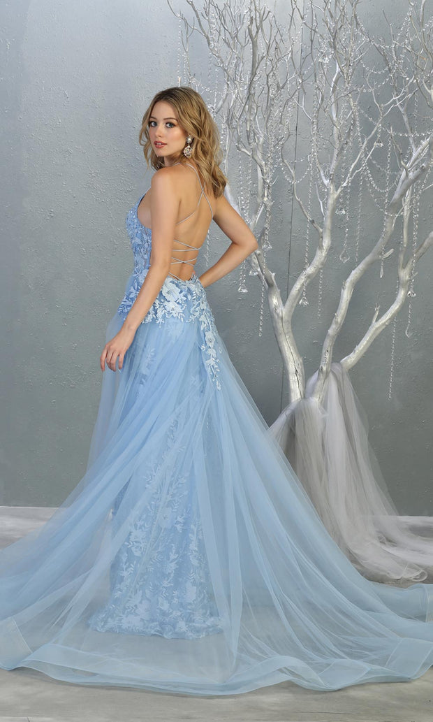 Mayqueen RQ7823 long perry blue v neck evening fitted lace dress w/straps. Full length light blue gown is perfect for  enagagement/e-shoot dress, formal wedding guest, evening party dress, prom, engagement, wedding reception. Plus sizes avail-b.jpg