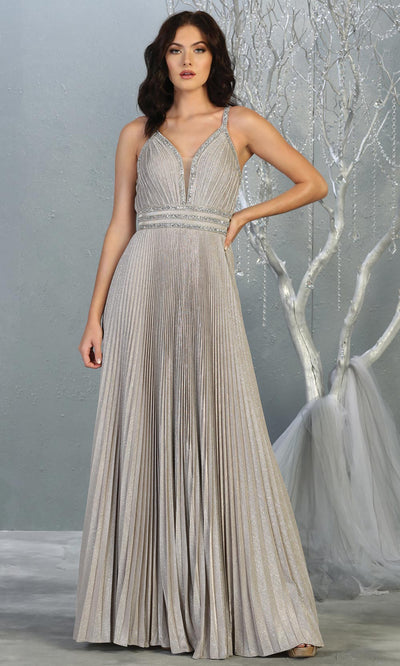Mayqueen RQ7827 long v neck champagne evening dress w/straps & pleated skirt. Full length light champagne gown is perfect for  enagagement/e-shoot dress, formal wedding guest, evening party dress, prom, engagement, wedding reception. Plus sizes avail.jpg