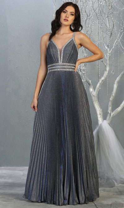 Mayqueen RQ7827 long v neck dusty blue evening dress w/straps & pleated skirt. Full length dark blue gown is perfect for  enagagement/e-shoot dress, formal wedding guest, evening party dress,prom, engagement, wedding reception. Plus sizes avail.jpg