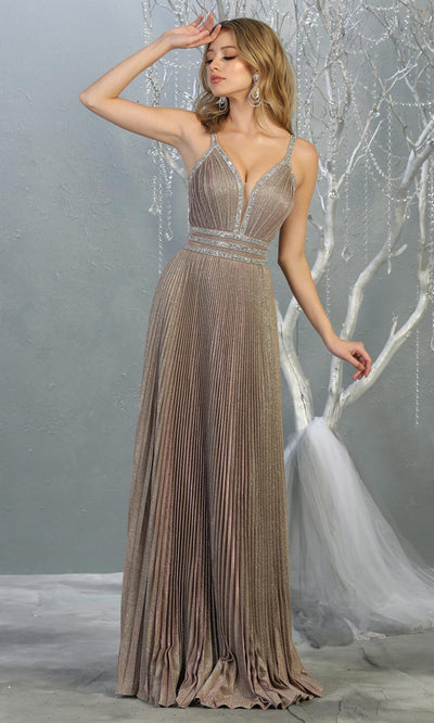 Mayqueen RQ7827 long v neck taupe evening dress w/straps & pleated skirt. Full length taupe gown is perfect for  enagagement/e-shoot dress, formal wedding guest, evening party dress,prom, engagement, wedding reception. Plus sizes avail.jpg
