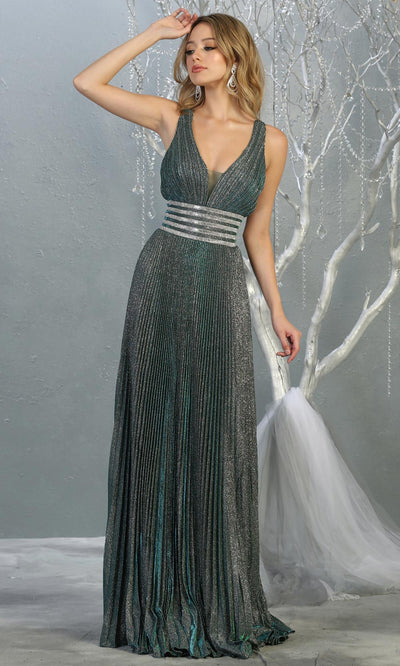 Mayqueen RQ7828 long v neck dark green evening dress w/ wide straps & pleated skirt. Full length dark green gown is perfect for  enagagement/e-shoot dress, formal wedding guest, evening party dress,prom, engagement, wedding reception. Plus sizes avail.jpg