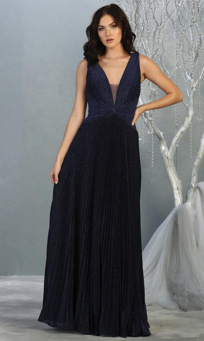 Mayqueen RQ7829 long v neck navy blue evening dress w/ wide straps & pleated skirt. Full length dark blue gown is perfect for  enagagement/e-shoot dress, formal wedding guest, evening party dress, prom, engagement, wedding reception. Plus sizes avail.jpg