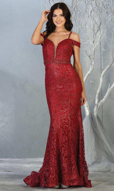 Mayqueen RQ7830 long burgundy red cold shoulder evening mermaid dress w/wide straps. Full length dark red gown is perfect for  enagagement/e-shoot dress, formal wedding guest, evening party dress, prom, engagement, wedding reception. Plus sizes avail.jpg