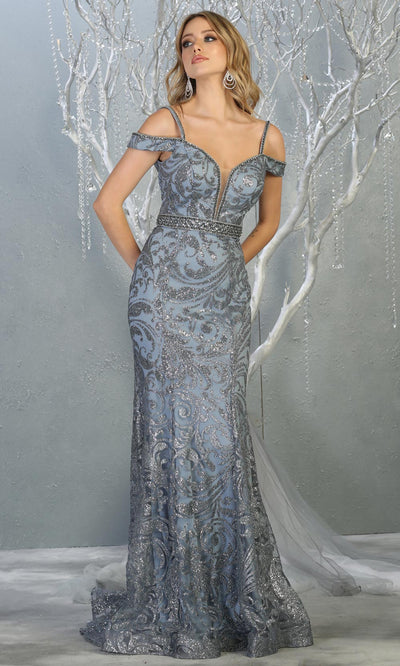 Mayqueen RQ7830 long dusty blue cold shoulder evening mermaid dress w/wide straps. Full length light blue gown is perfect for  enagagement/e-shoot dress, formal wedding guest, evening party dress, prom, engagement, wedding reception. Plus sizes avail.jpg