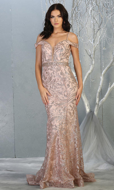 Mayqueen RQ7830 long rose gold cold shoulder evening mermaid dress w/wide straps. Full length rose gold gown is perfect for  enagagement/e-shoot dress, formal wedding guest, evening party dress, prom, engagement, wedding reception. Plus sizes avail.jpg