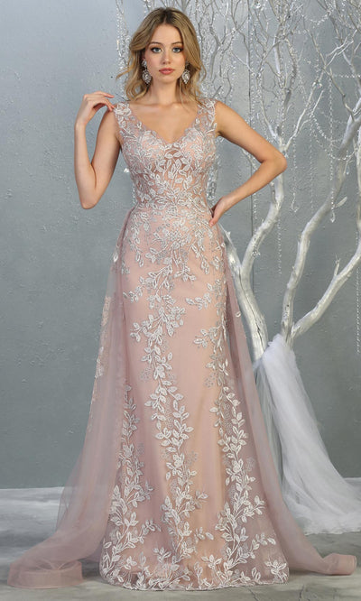 Mayqueen RQ7834 long mauve modest v neck evening dress w/skirt overlay. Full length dusty rose fitted gown is perfect for  enagagement/e-shoot dress, formal wedding guest, evening party dress, prom, engagement, wedding reception. Plus sizes avail-2.jpg
