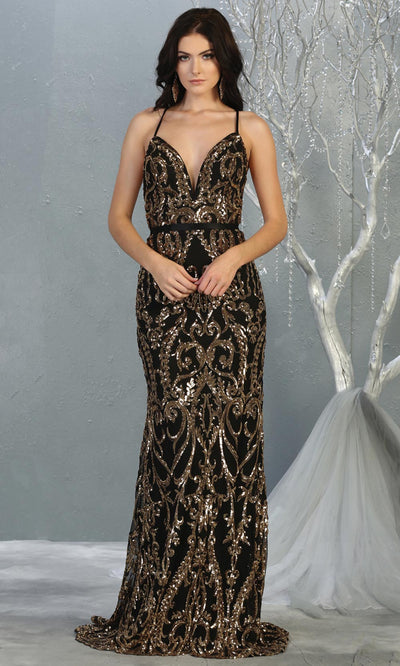 Mayqueen RQ7837 long black gold sequin v neck evening gown w/open back. Full length black fitted gown is perfect for  enagagement/e-shoot dress, formal wedding guest, evening party dress, prom, engagement, wedding reception. Plus sizes avail.jpg