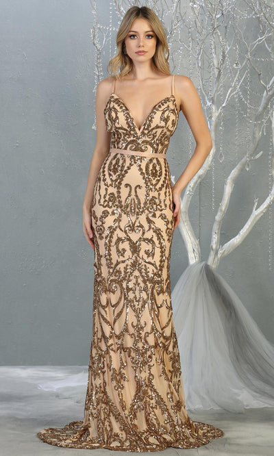 Mayqueen RQ7837 long gold sequin v neck evening gown w/open back. Full length gold fitted gown is perfect for  enagagement/e-shoot dress, formal wedding guest, evening party dress, prom, engagement, wedding reception. Plus sizes avail.jpg