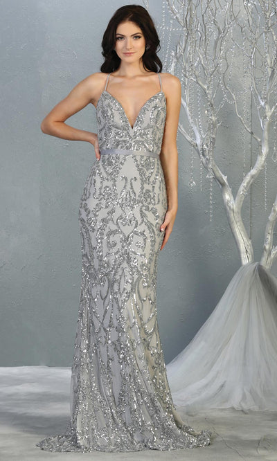 Mayqueen RQ7837 long silver grey sequin v neck evening gown w/open back. Full length light gray fitted gown is perfect for  enagagement/e-shoot dress, formal wedding guest, evening party dress, prom, engagement, wedding reception. Plus sizes avail.jpg