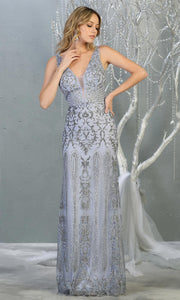 Mayqueen RQ7840 long dusty blue sequin v neck evening gown w/low back. Full length low back fitted gown is perfect for  enagagement/e-shoot dress, formal wedding guest, evening party dress, prom, engagement, wedding reception. Plus sizes avail.jpg