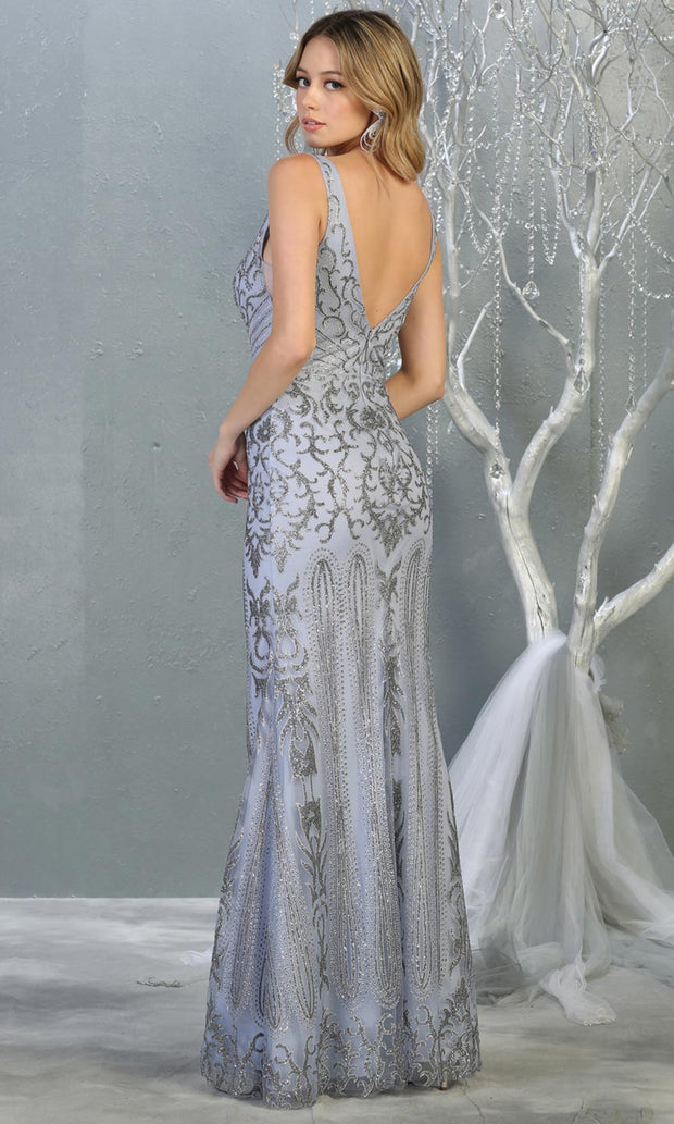 Mayqueen RQ7840 long dusty blue sequin v neck evening gown w/low back. Full length low back fitted gown is perfect for  enagagement/e-shoot dress, formal wedding guest, evening party dress, prom, engagement, wedding reception. Plus sizes avail-b.jpg