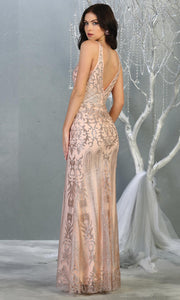 Mayqueen RQ7840 long rose gold sequin v neck evening gown w/low back. Full length low back fitted gown is perfect for  enagagement/e-shoot dress, formal wedding guest, evening party dress, prom, engagement, wedding reception. Plus sizes avail-b.jpg