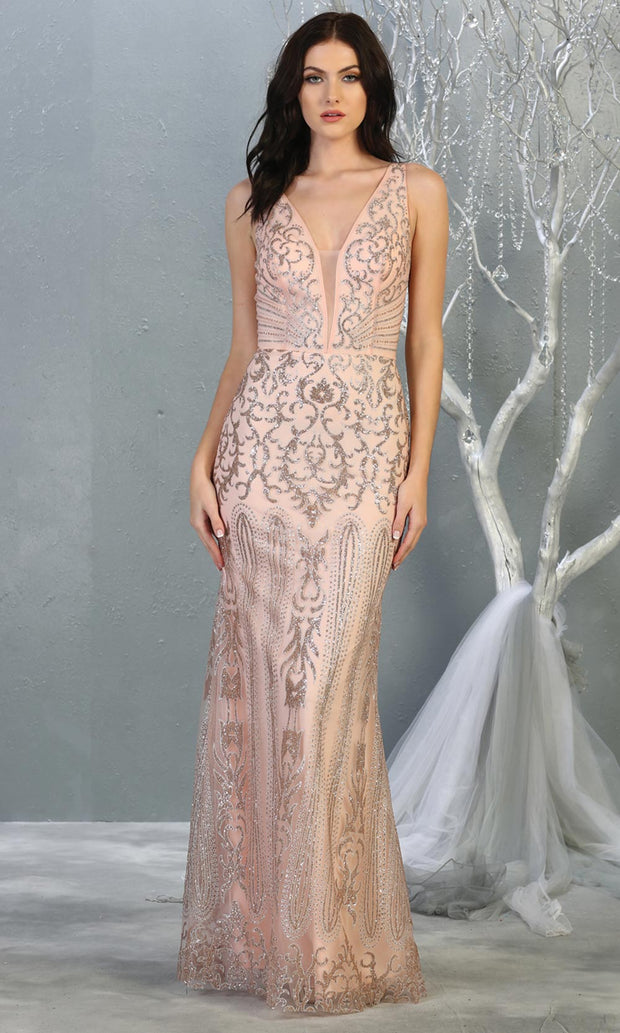 Mayqueen RQ7840 long rose gold sequin v neck evening gown w/low back. Full length low back fitted gown is perfect for  enagagement/e-shoot dress, formal wedding guest, evening party dress, prom, engagement, wedding reception. Plus sizes avail.jpg