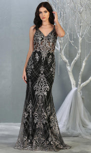 Mayqueen RQ7843 long black silver sequin v neck evening gown w/wide straps. Full length fitted black gown is perfect for  enagagement/e-shoot dress, formal wedding guest, evening party dress, prom, engagement, wedding reception. Plus sizes avail.jpg